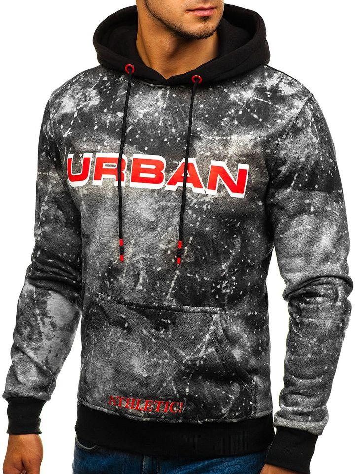 Bluză pentru bărbat cu glugă și imprimeu gri Bolf DD266 imagine