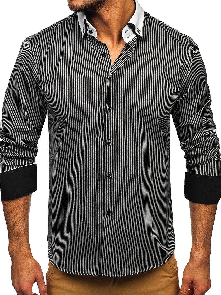 Cămașă elegantă în dungi bărbați negru Bolf 0909-A