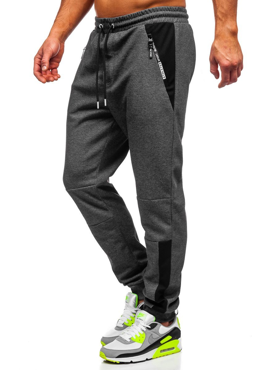 Pantaloni de trening cu imprimeu grafit-alb Bolf Q1039