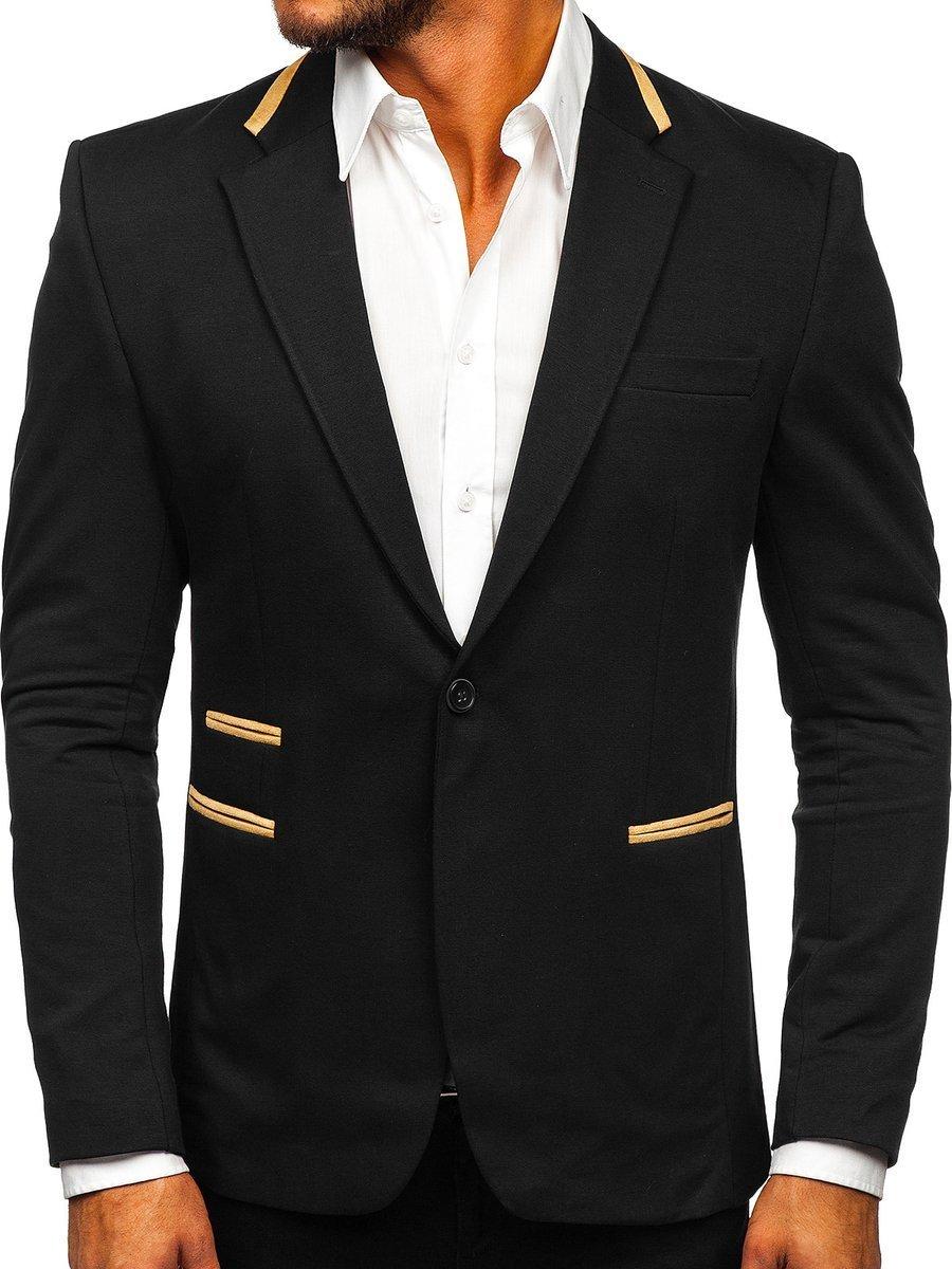 Sacou elegant negru bărbați Bolf 9400 imagine