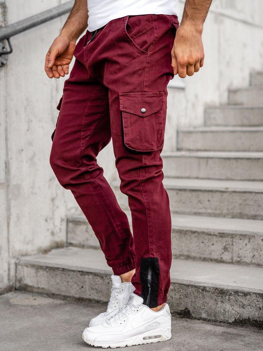 Pantaloni cargo joggers bordo Bolf 0705 imagine