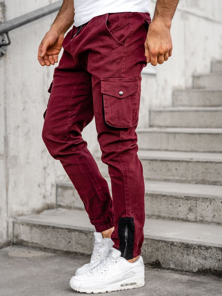 Pantaloni cargo joggers bordo Bolf 0705