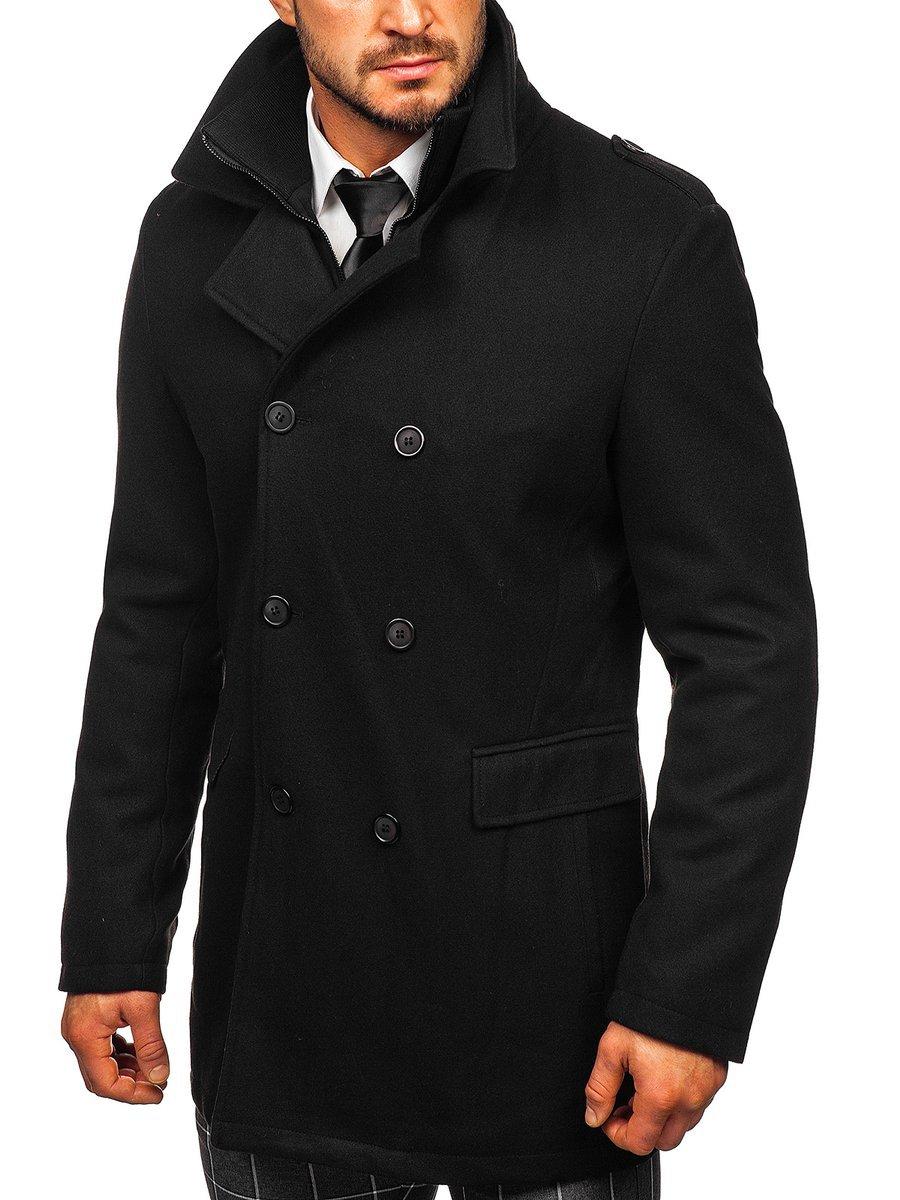 Palton de iarnă negru două rânduri de nasturi bărbați Bolf 8805 imagine