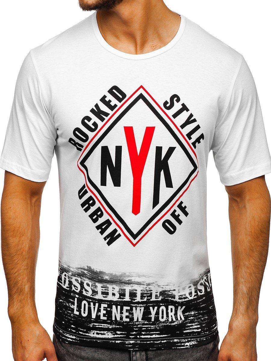 T-shirt pentru bărbat cu imprimeu alb Bolf 6305