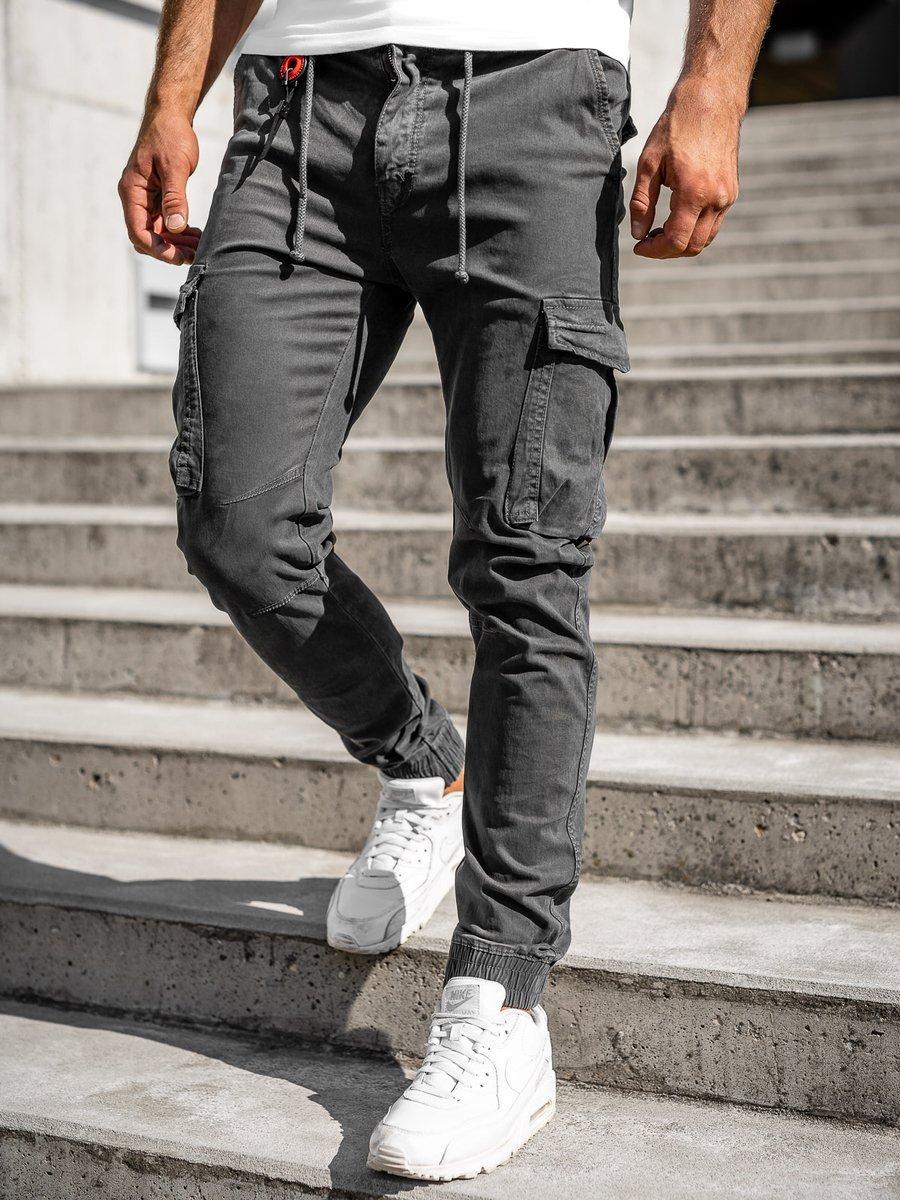 Pantaloni cargo joggers grafit Bolf CT6705 imagine