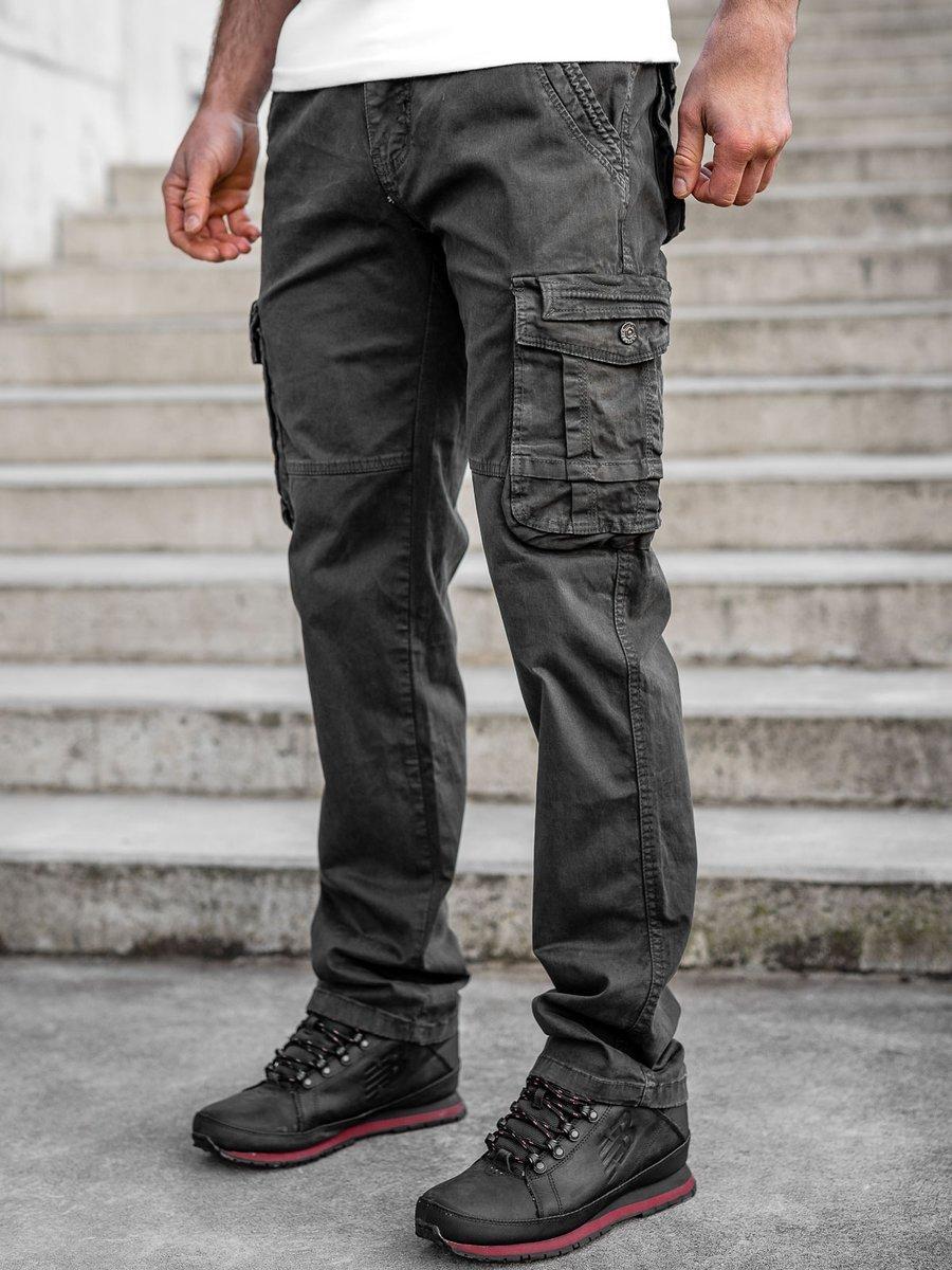 Pantaloni grafit cargo cu curea Bolf CT8903 imagine