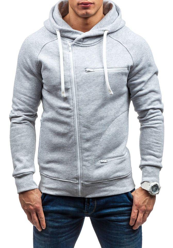 Bluză pentru bărbat cu glugă gri Bolf 31S