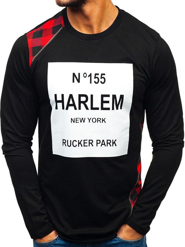 Bluză fără glugă cu imprimeu pentru bărbat neagră-roșie Bolf 0756