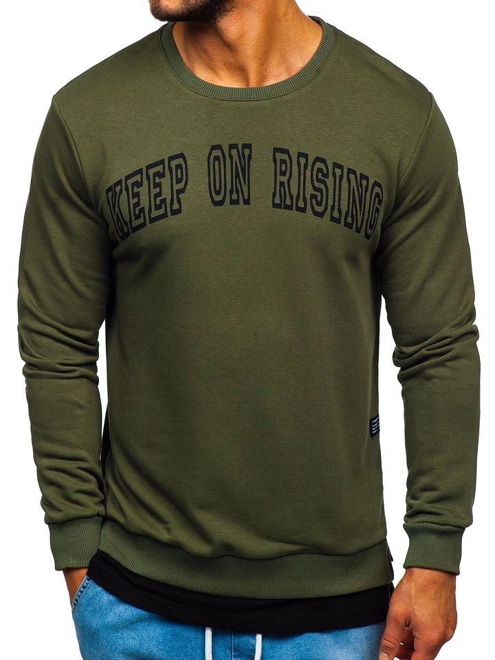 Bluză cu imprimeu bărbați kaki Bolf 11114 imagine