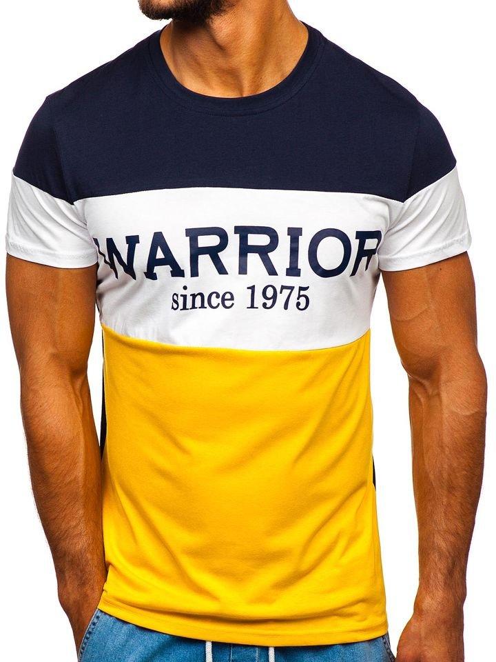 Tricou cu imprimeu bărbați galben Bolf 100693