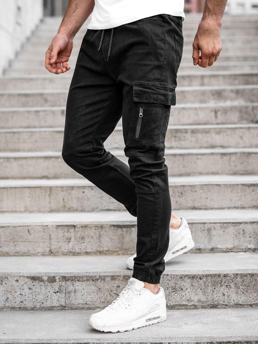 Pantaloni joggers cargo negri Bolf 11104