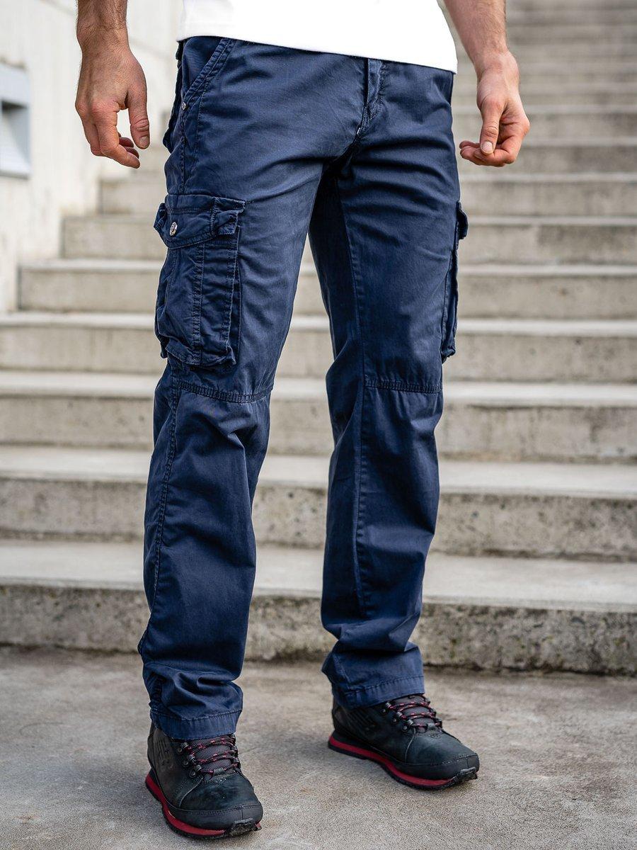 Pantaloni bleumarin cargo cu curea Bolf CT8906 imagine
