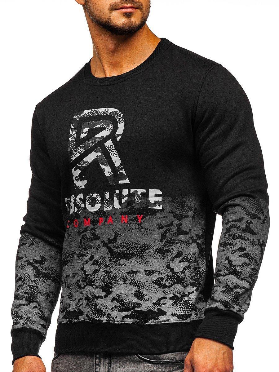 Bluză pentru bărbat fără glugă cu imprimeu neagră Bolf DD392 imagine