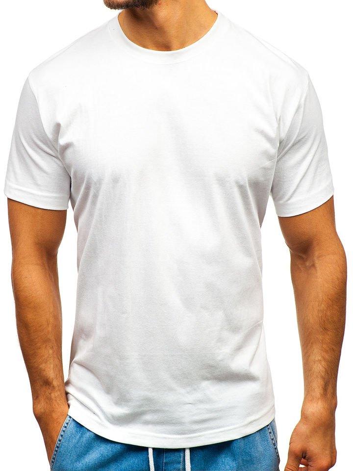 T-shirt pentru bărbați fără imprimeu alb Bolf T1046