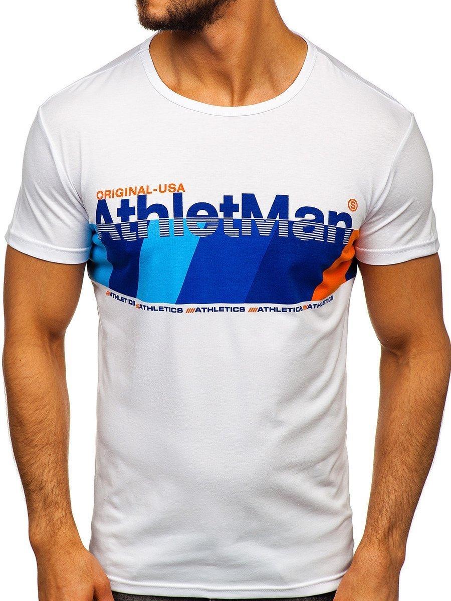 Tricou cu imprimeu bărbați albastru Bolf SS10905 imagine