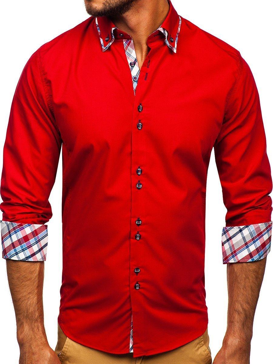 Cămașă elegantă pentru bărbat în dungi cu mâneca lungă roșie Bolf 4704