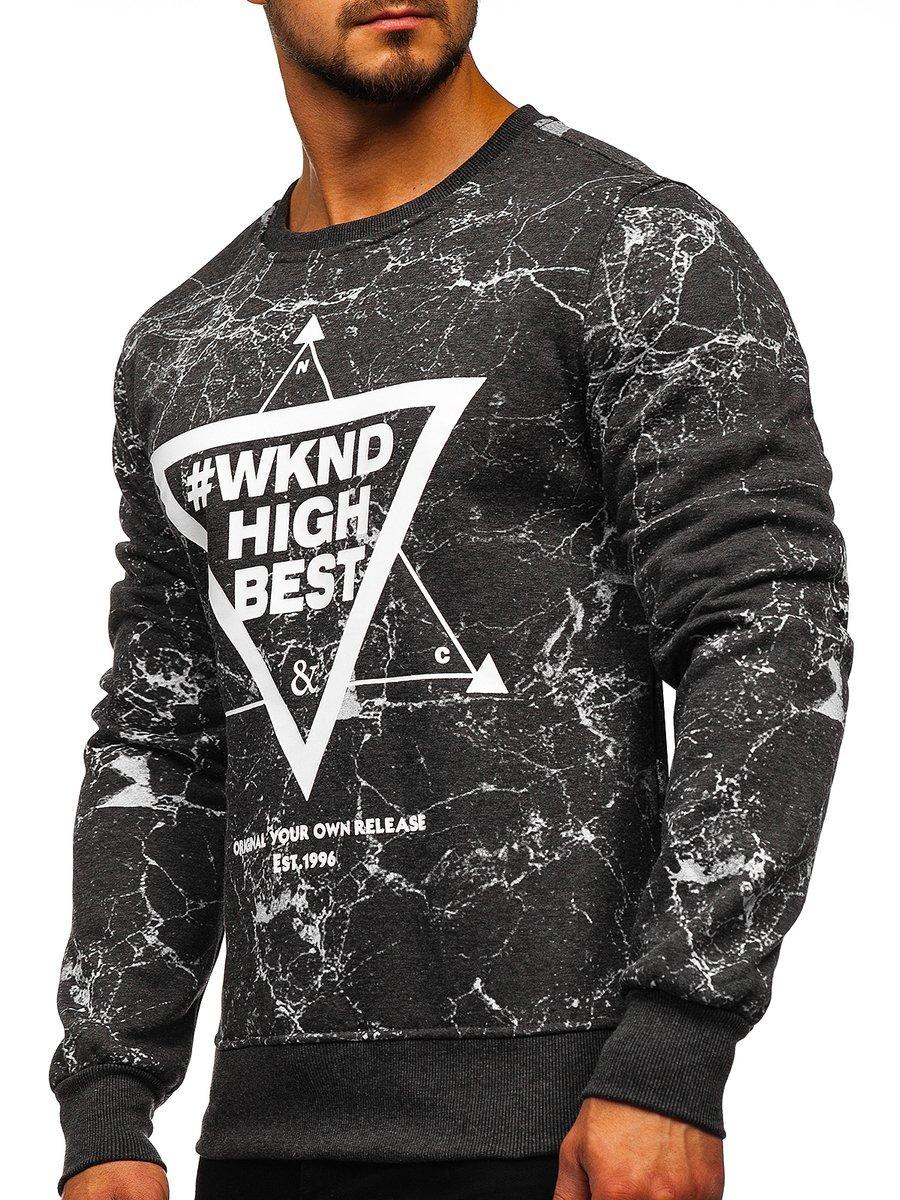 Bluză fără glugă cu imprimeu pentru bărbat gri-antracit Bolf J40 imagine