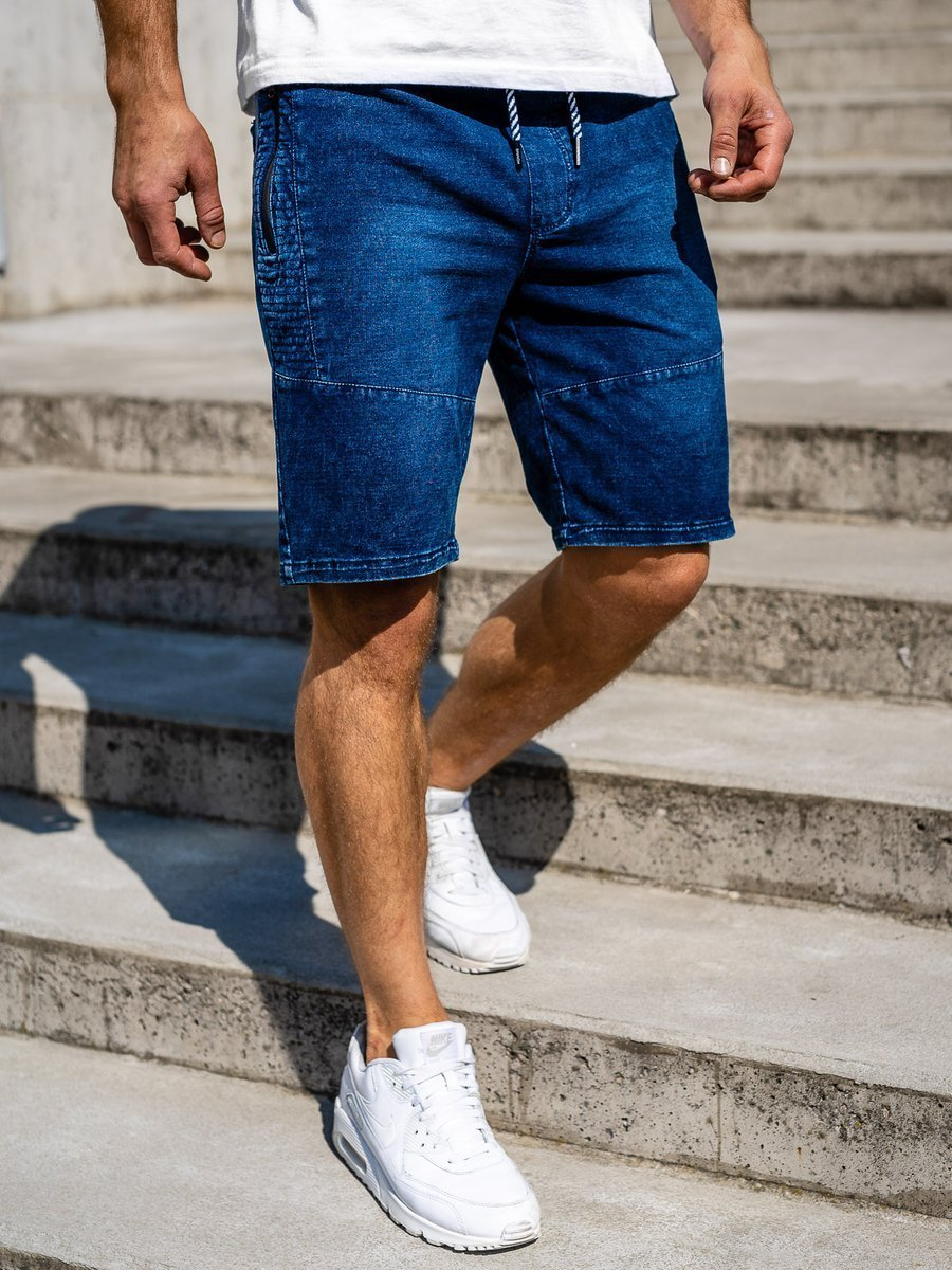 Pantaloni scurți denim bărbați bleumarin Bolf 5786 imagine