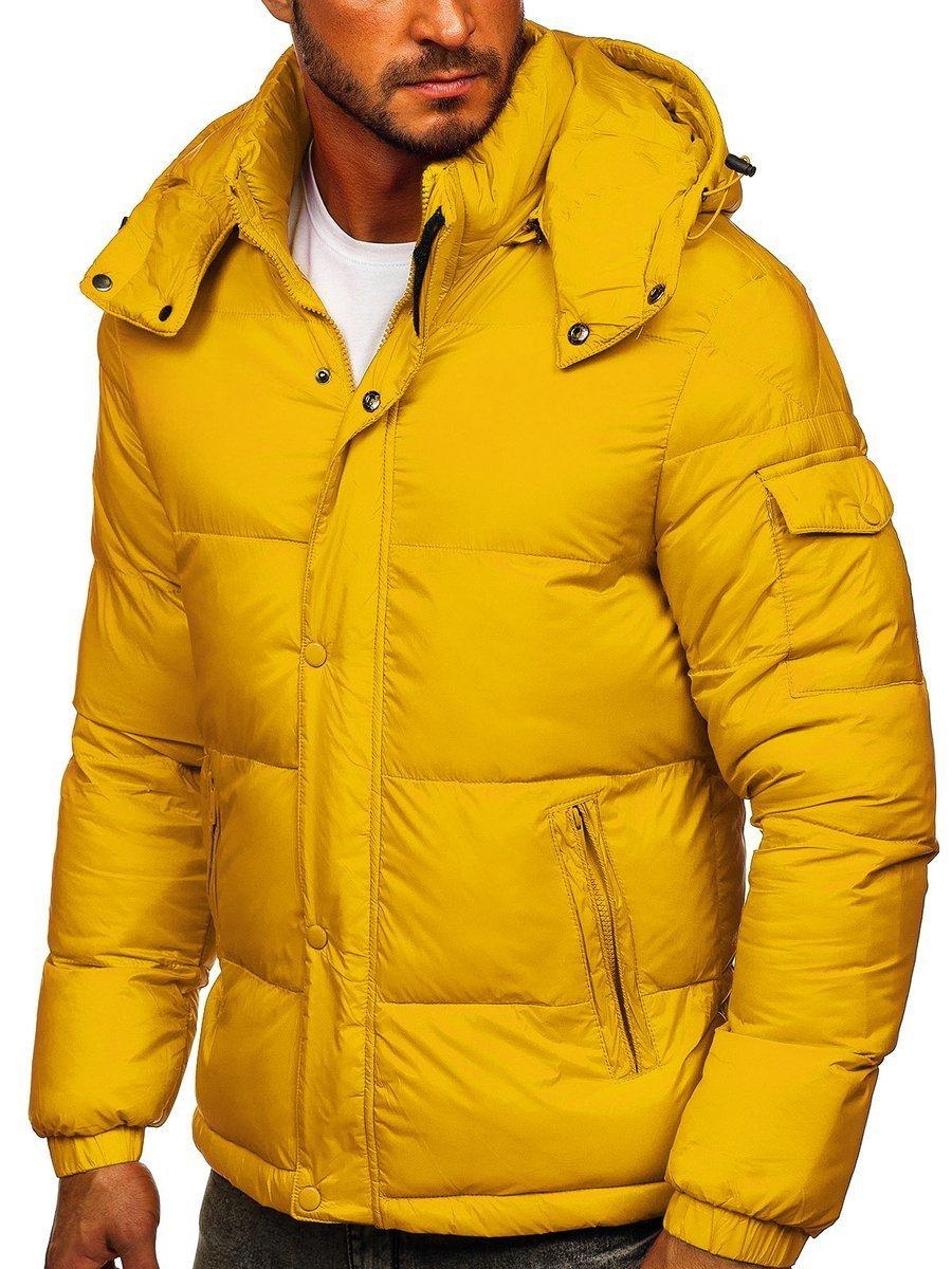 Geacă de iarnă matlasată galbenă Bolf 1161