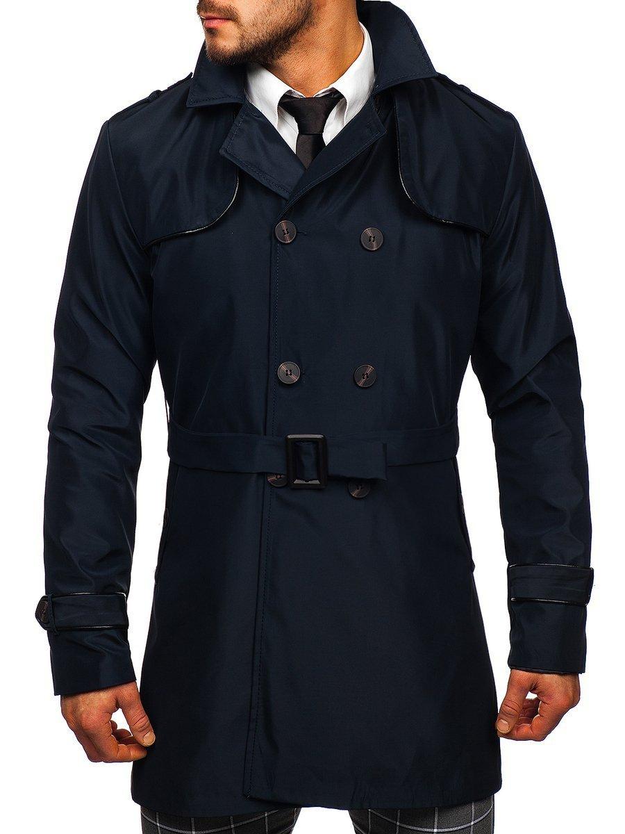 Palton bleumarin guler înalt cu două rânduri de nasturi și curea Bolf 0001 imagine