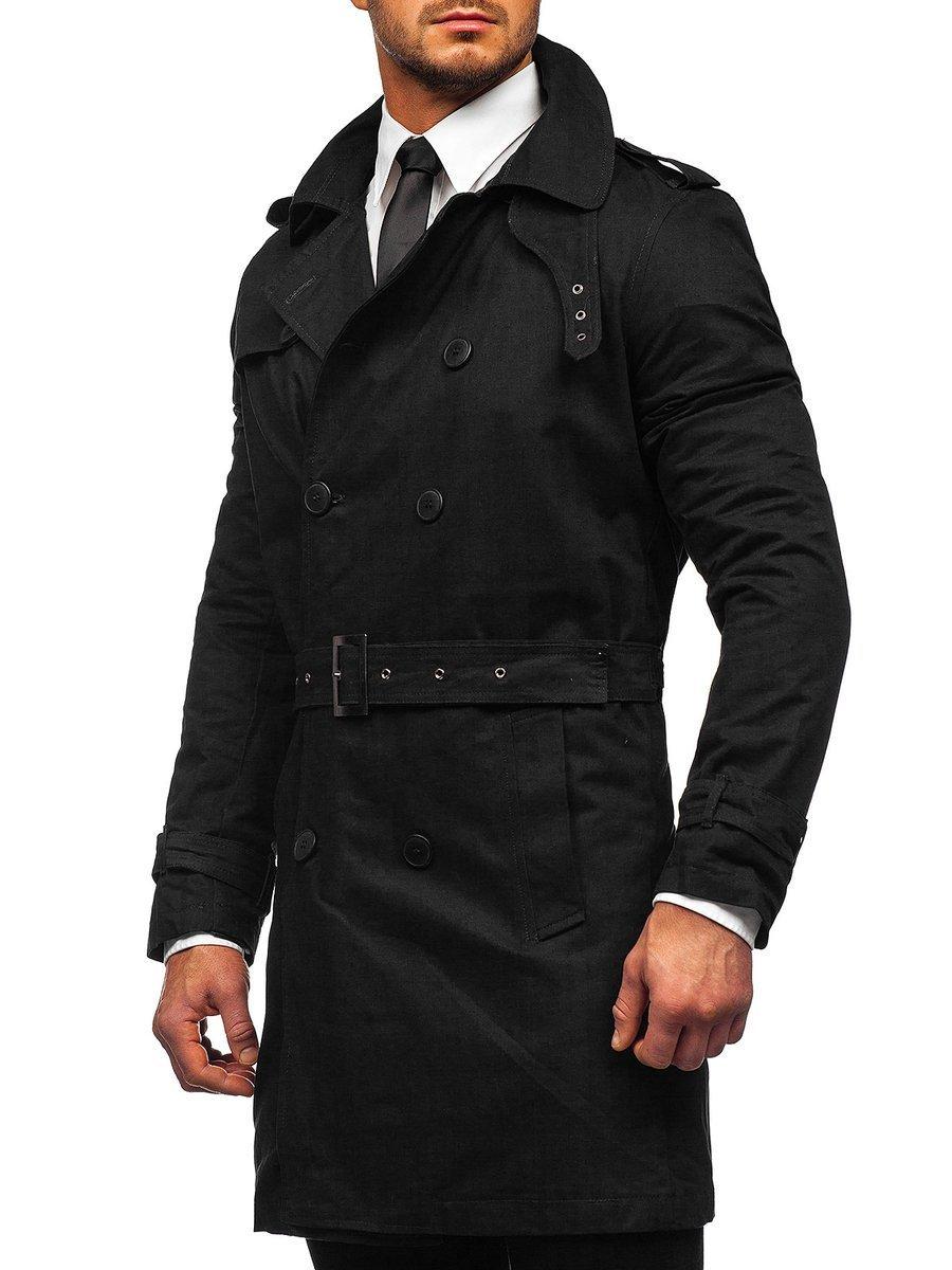 Palton negru două rânduri de nasturi cu guler înalt și curea Bolf 5569 imagine