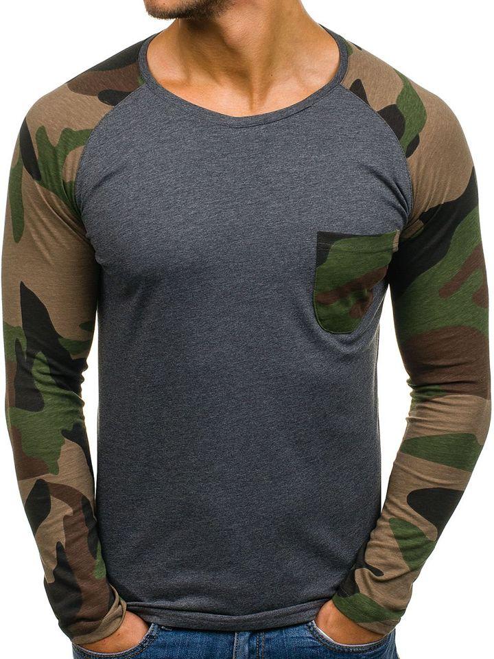 Long sleeve pentru bărbat cu imprimeu gri-deschis Bolf 1089