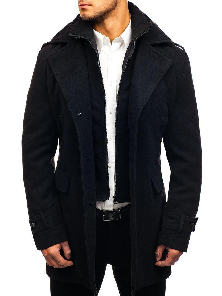 Palton pentru bărbat de iarnă negru Bolf 1808
