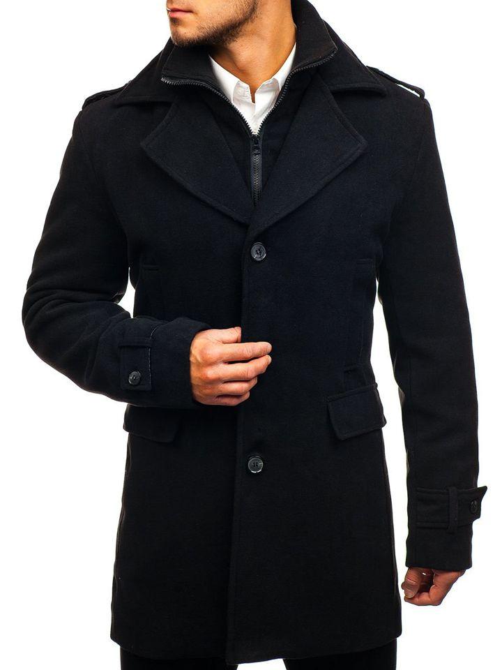 Palton de iarnă negru Bolf 1808 imagine
