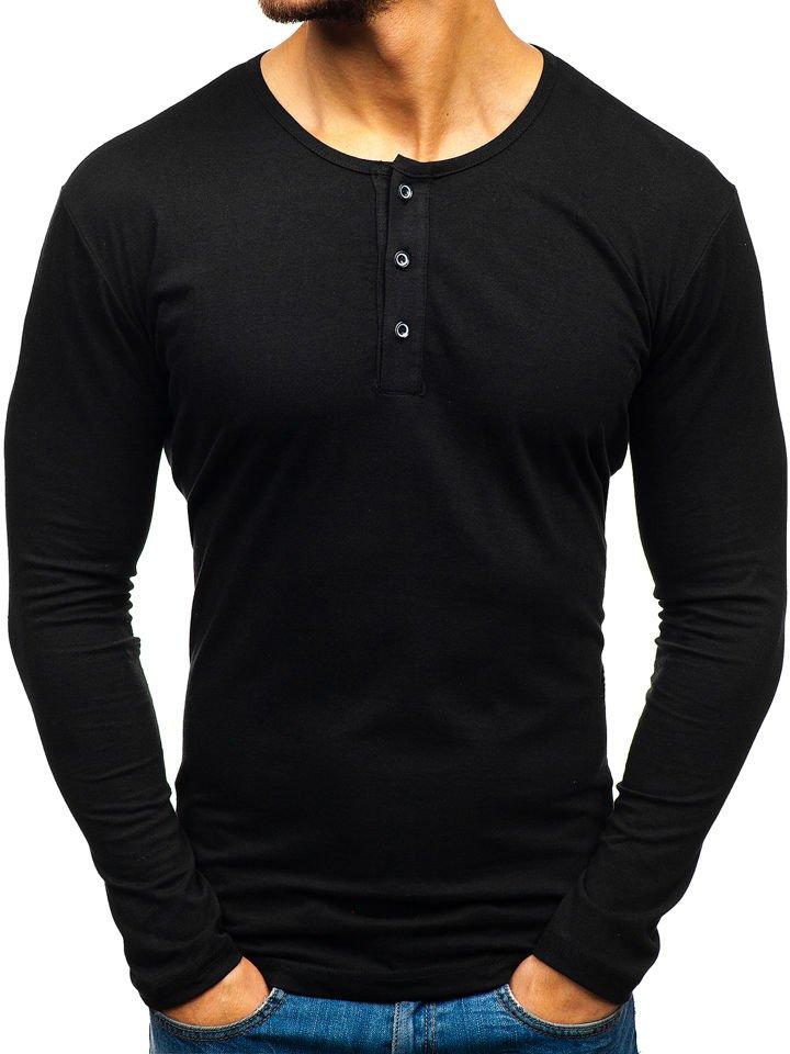 Long sleeve henley pentru bărbat negru Bolf 1114