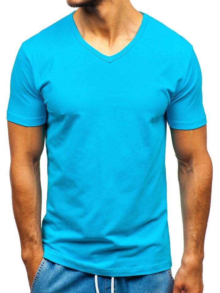 T-shirt pentru bărbați fără imprimeu turcoaz Bolf T1043