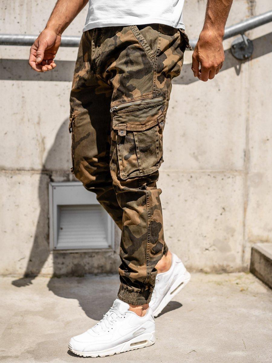 Pantaloni cargo maro cu curea bărbați Bolf CT67015 imagine