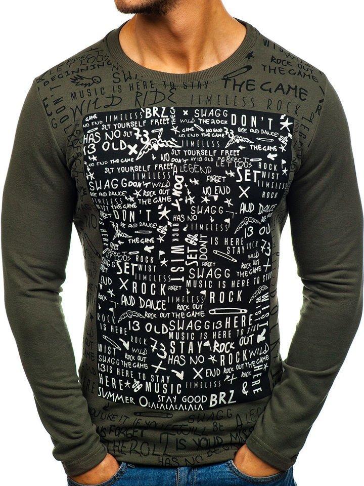 Bluză pentru bărbat fără glugă cu imprimeu kaki Bolf 9082 imagine
