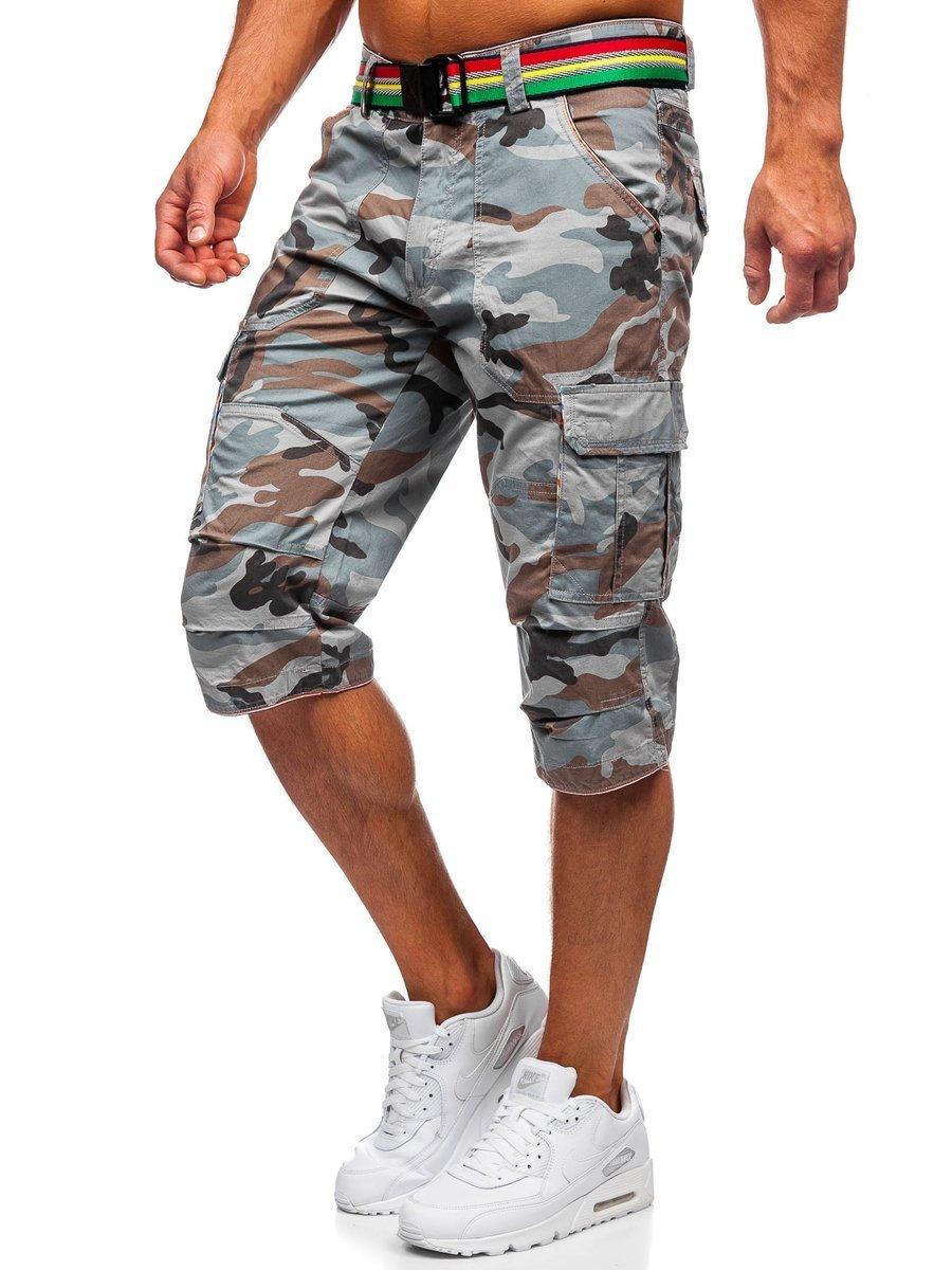 Pantaloni scurți cargo gri army cu curea Bolf AR5906