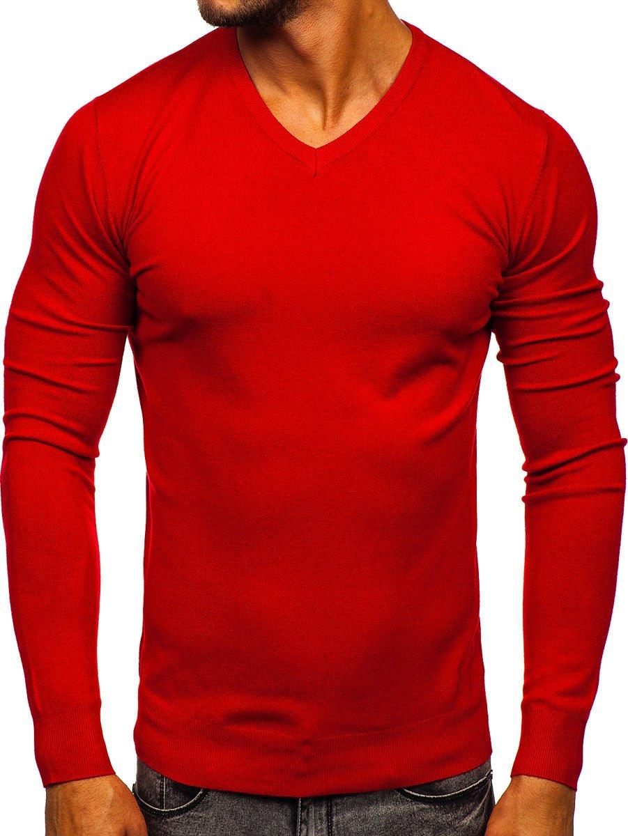 Pulover cu decolteu roșu bărbați Bolf YY03