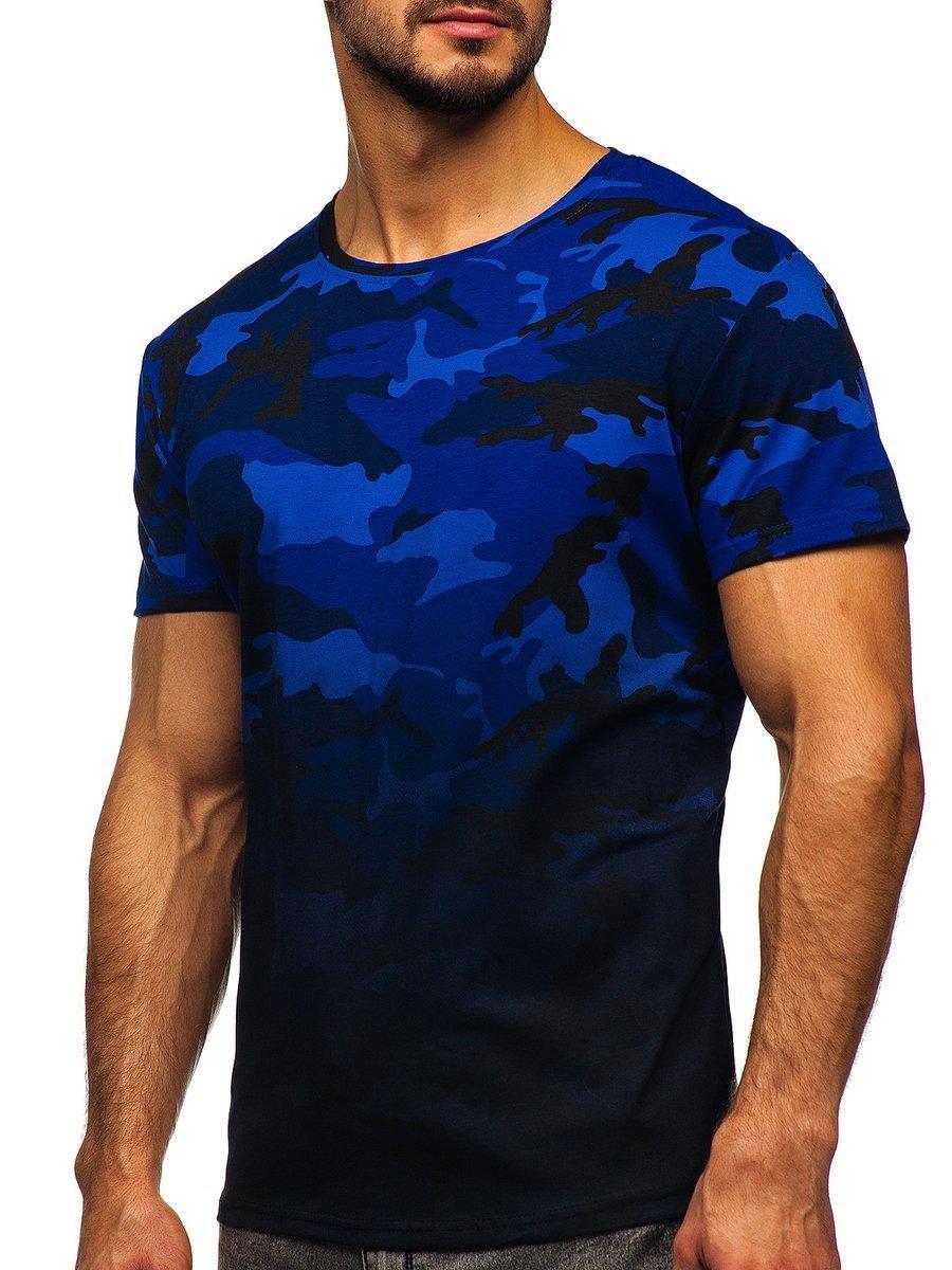 Tricou cu imprimeu bărbați camuflaj-bleumarin Bolf S808