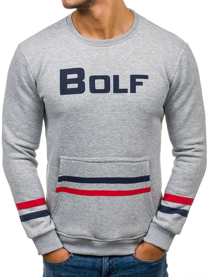Bluză fără glugă cu imprimeu pentru bărbat gri Bolf 75