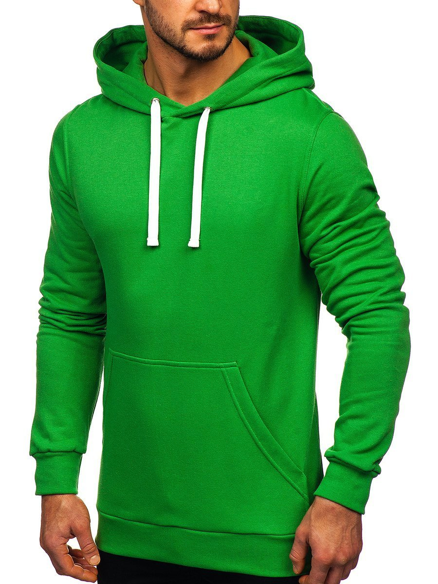 Bluză cu glugă pentru bărbat verde Bolf 02