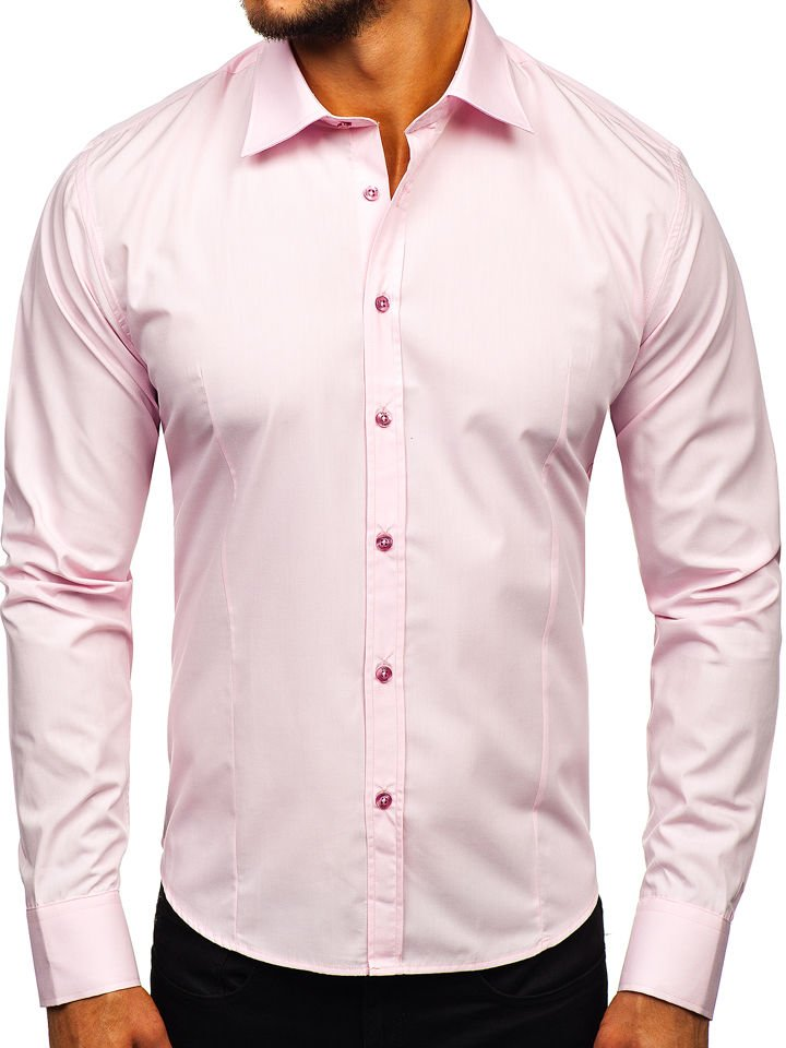 Cămașă elegantă pentru bărbat cu mâneca lungă roz Bolf 1703
