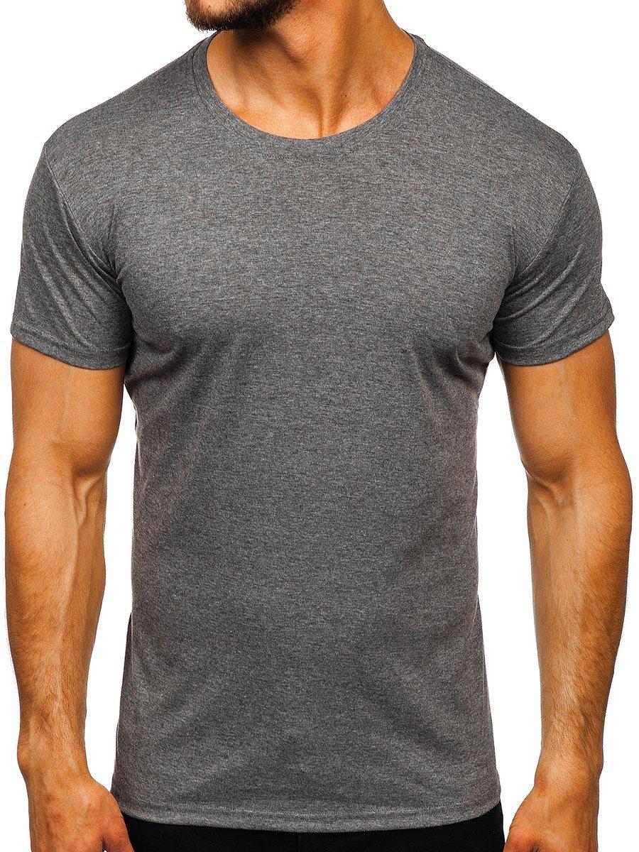 T-shirt fără imprimeu pentru bărbați grafit Bolf 2005