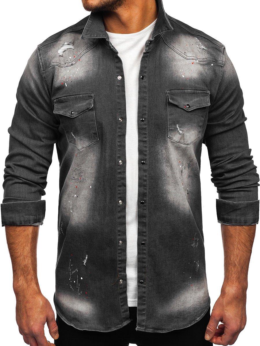 Cămașă de blugi grafit mâneca lungă Bolf R710 imagine