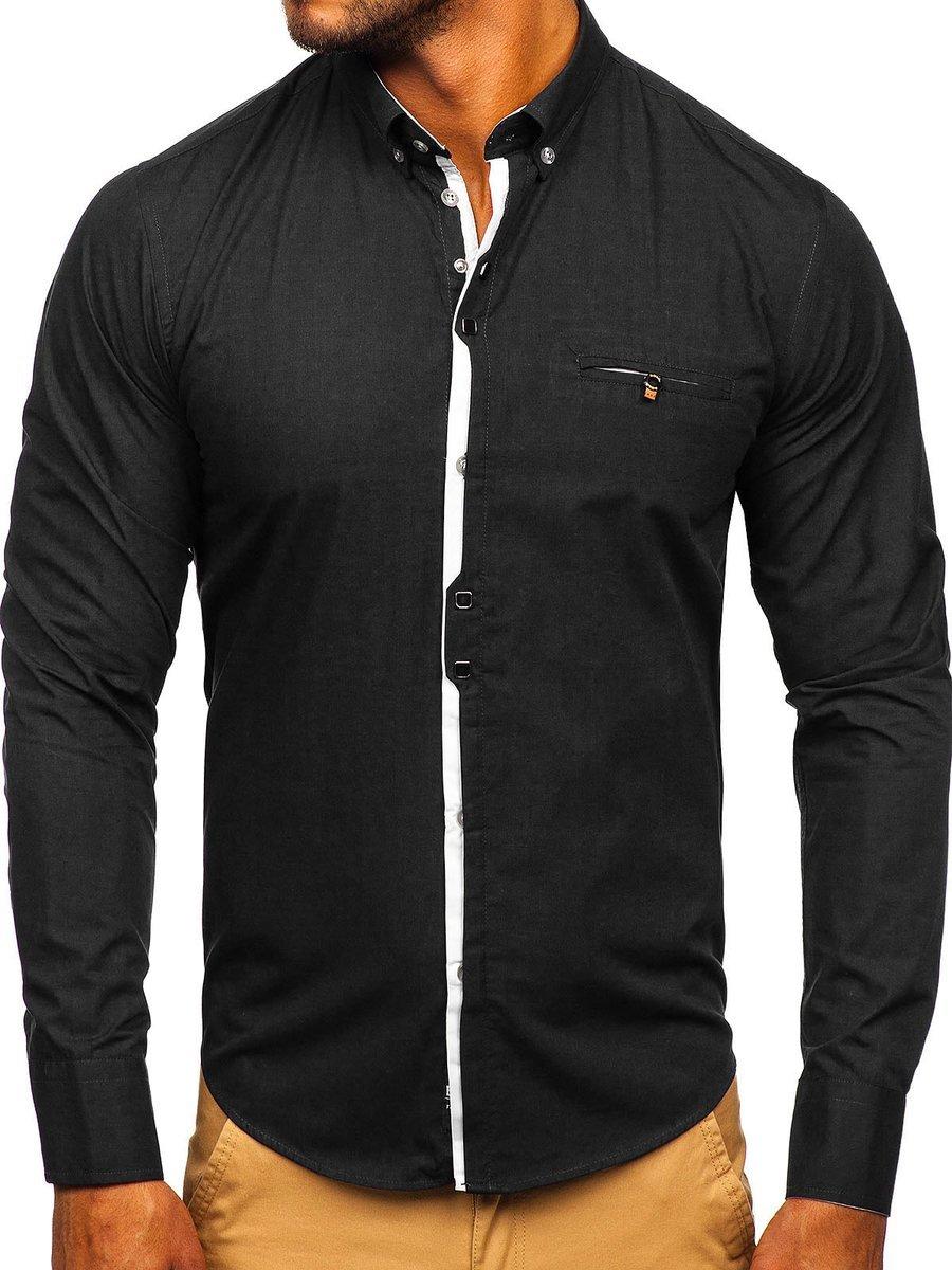Cămașă elegantă pentru bărbat cu mâneca lungă neagră Bolf 7720