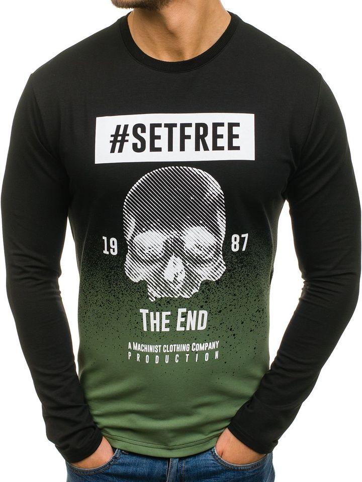 Bluză pentru bărbat fără glugă cu imprimeu neagră Bolf M03