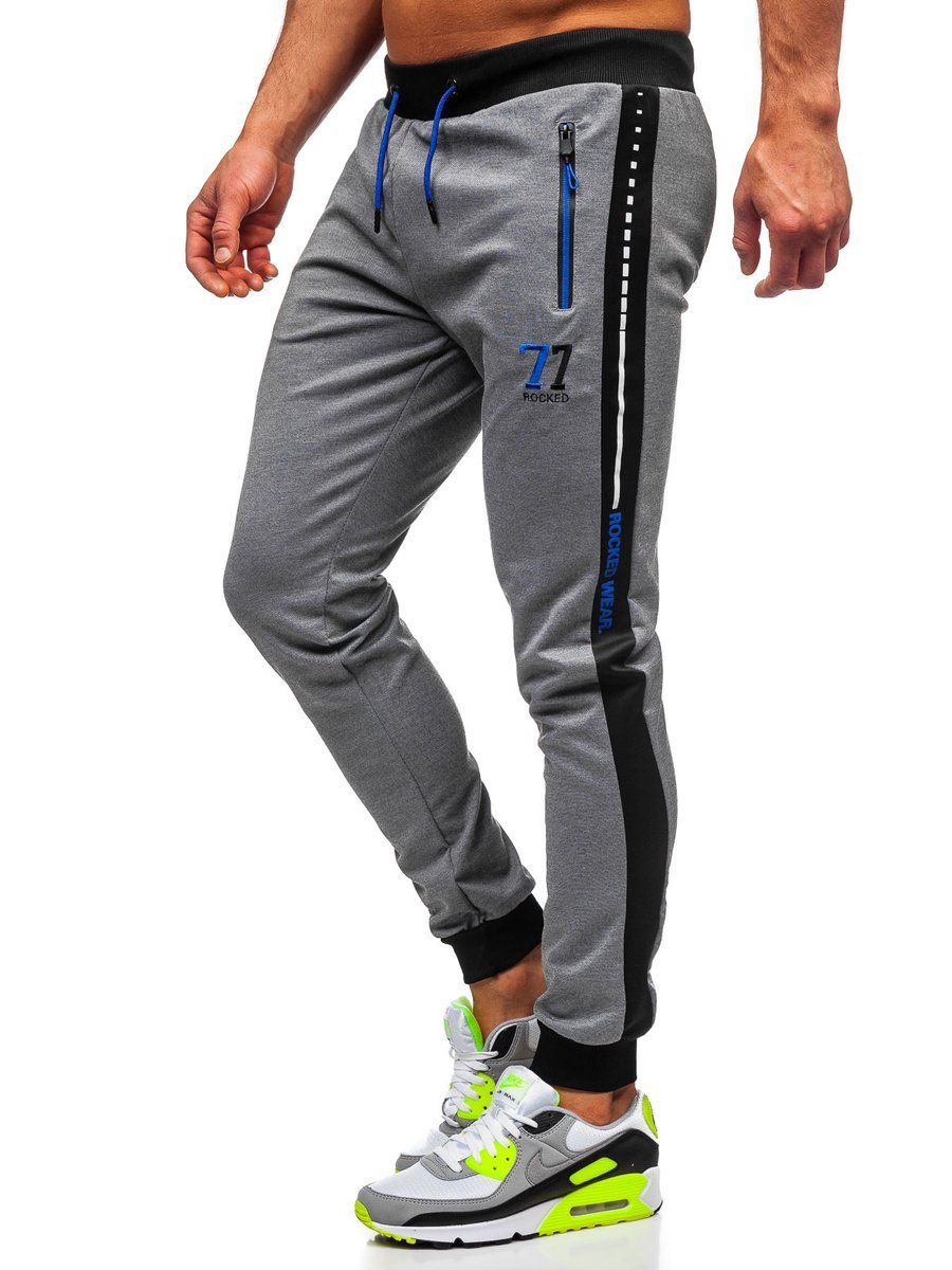 Pantaloni trening cu imprimeu gri Bolf AM96