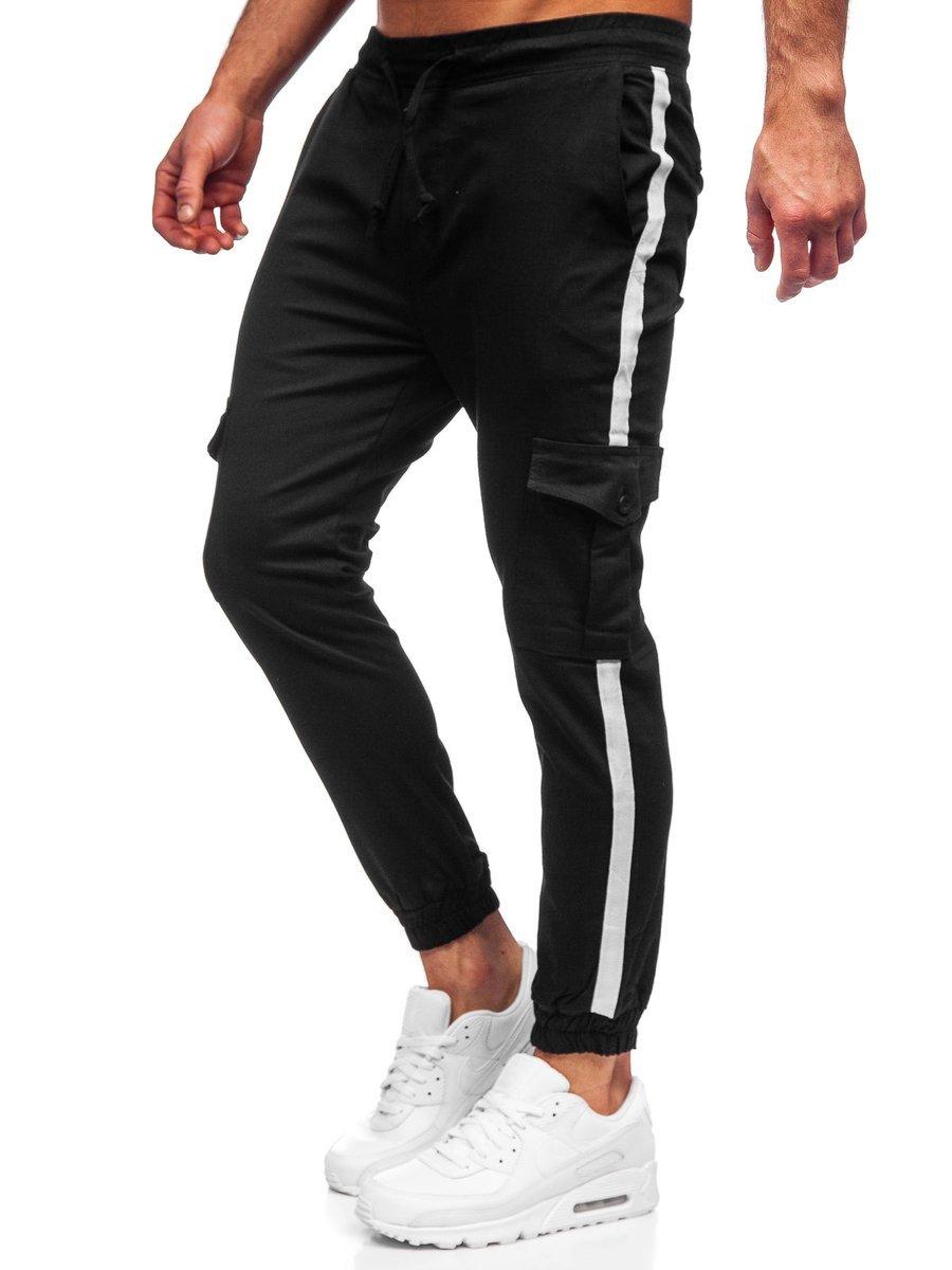 Pantaloni cargo negri Bolf 0012