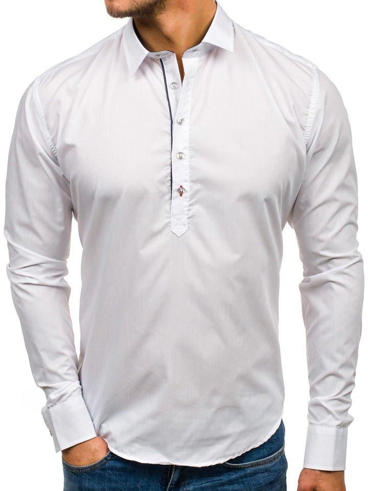 Cămașa elegantă pentru bărbat cu mâneca lungă albă Bolf 5791