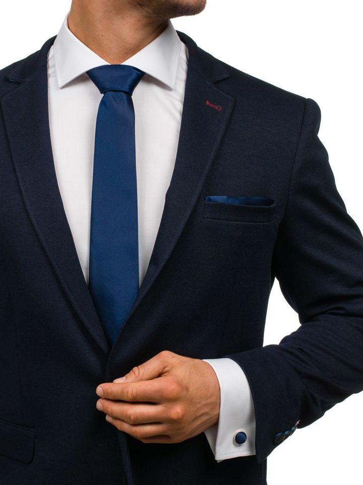 Set pentru bărbat cravată, butoni, batistă bluemarin-închis Bolf KSP01
