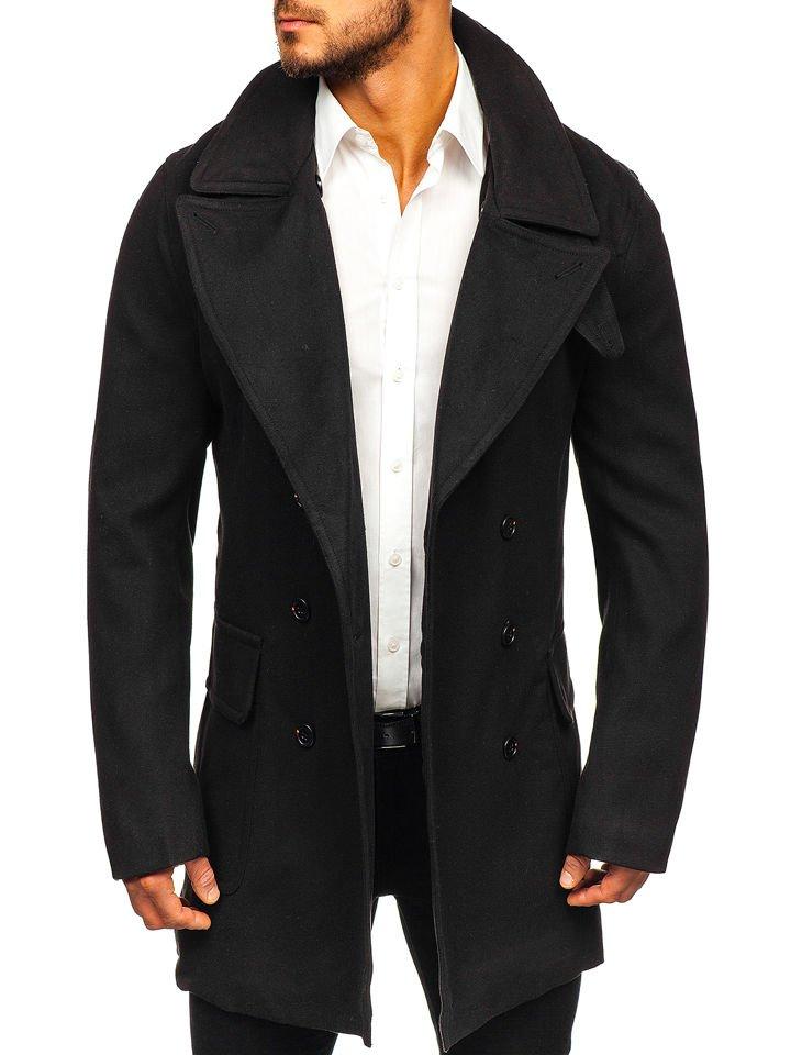 Palton de iarnă pentru bărbat negru Bolf 1048