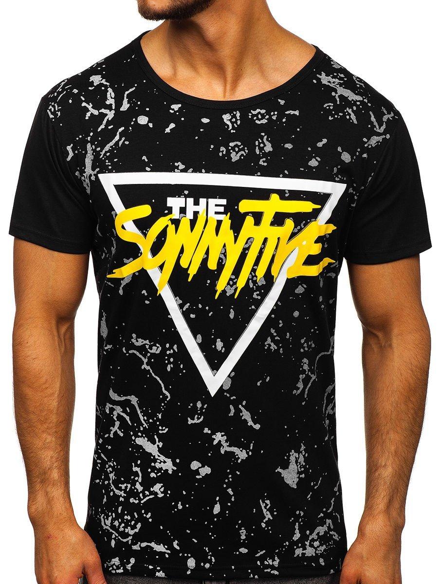 Tricou negru cu imprimeu bărbați Bolf KS2014 imagine