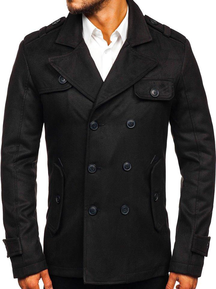 Palton de iarnă pentru bărbat negru Bolf 3123