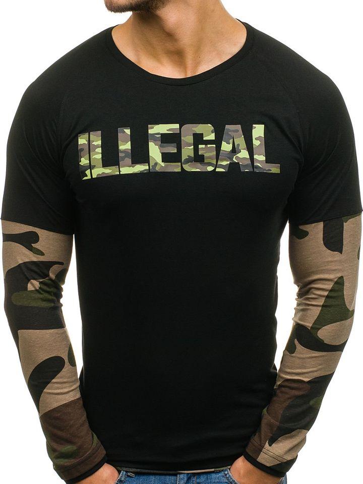 Long sleeve pentru bărbat negru-kaki Bolf 1162
